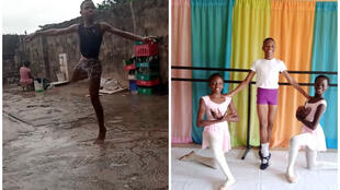 Left: Anthony dances in the rain. Screengrab from viral video. Right: Anthony with two other students at the Leap of Dance studio in Ajala's home.