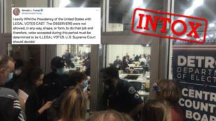 Capture d'écran d'une vidéo montrant l'accès bloqué à une salle de dépouillement à Détroit, le 3 novembre, ce que des militants républicains et Donald Trump ont à tort jugé illégal. Capture d'écran Twitter.
