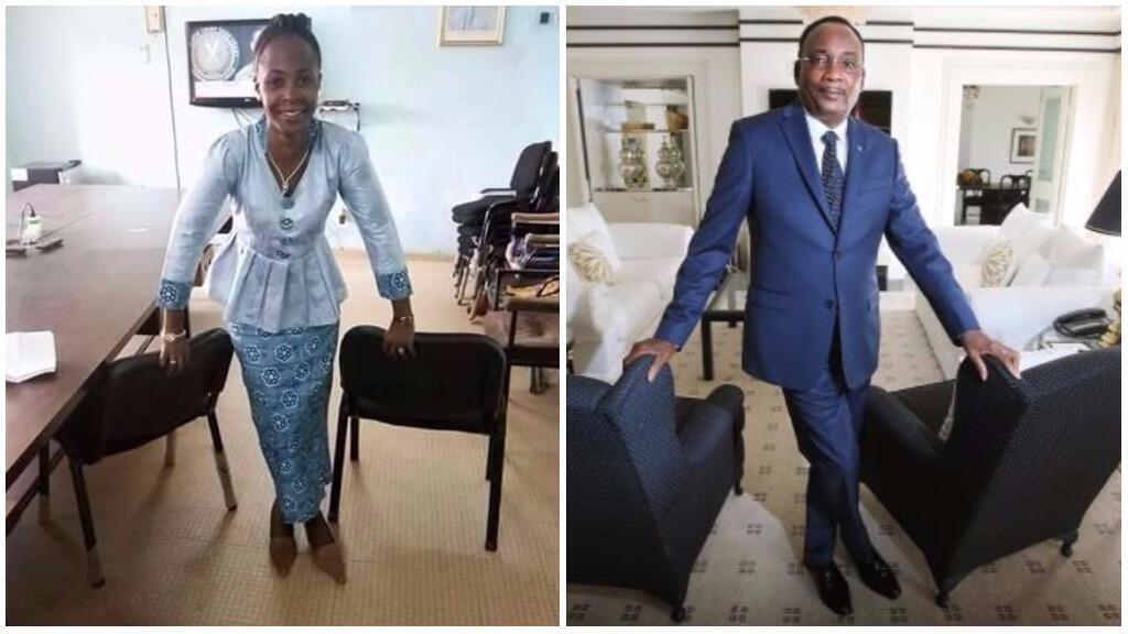 À droite, le président Issoufou posant pour un magazine australien. À gauche, la parodie postée par la journaliste nigérienne Samira Sabou.