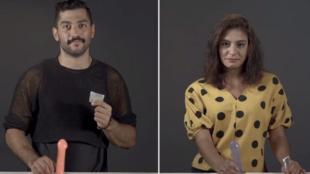Capture d'écran de la vidéo sur l'utilisation des préservatifs avec Hamed Sinno et Yumna Ghandour. Source: Marsa