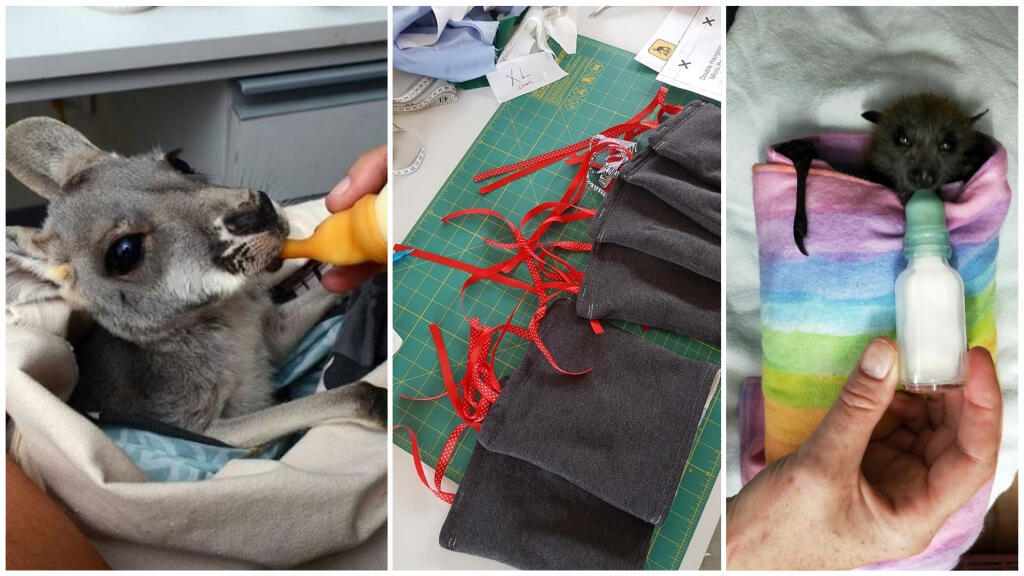 """Volunteers make fabric pouches to replace the marsupial pouches; photos shared by members of the Facebook group """"Animal Rescue Craft Guild""""."""