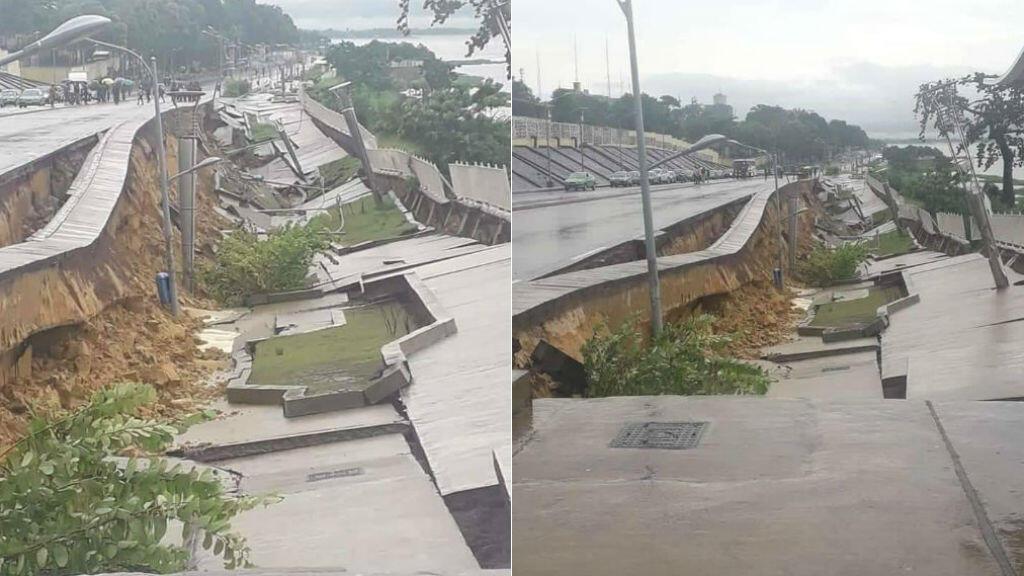 La corniche de Brazzaville, véritable attraction de la capitale congolaise, s'est effondrée après des pluies diluviennes, jeudi 9 janvier. Photos publiées sur Facebook.