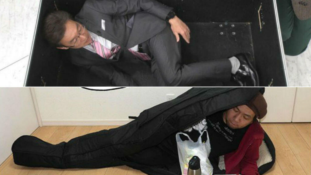 Japanese Internet users have been posting photos of themselves imitating Carlos Ghosn's daring escape from Japan. Photos from Twitter.