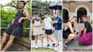 Students and social media users in Taiwan wore skirts to promote gender equality, days before the government voted to legalise same-sex marriage (汪詩豪,  Szu-Chieh Jesse Chen, 張弼翔/Facebook).