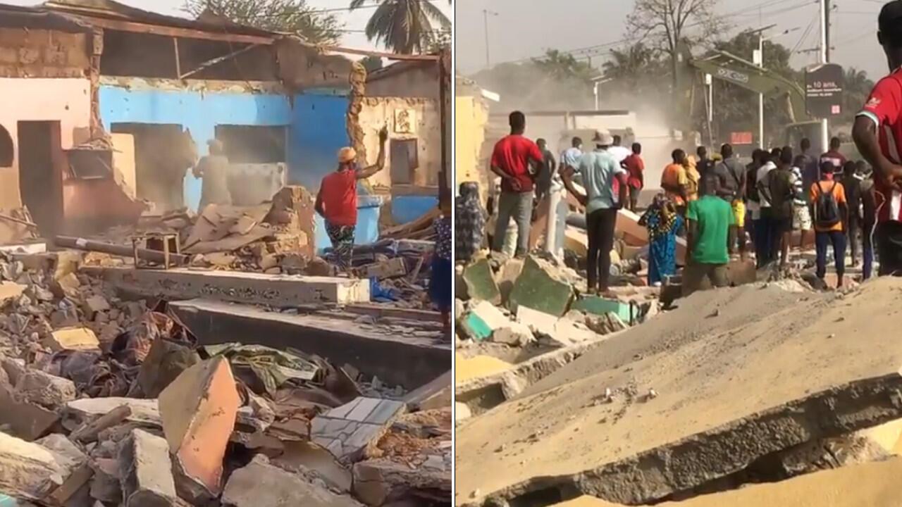 A Dubreka en Guinée, des boutiques et maisons détruites pour libérer les emprises des voies.