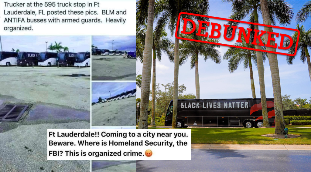 Left: Posts shared online claimed NBA team buses were used to transport BLM protesters. Right: A photo posted by the Toronto Raptors of their bus wrapped in support of BLM (Photo credit: Toronto Raptors/Twitter).