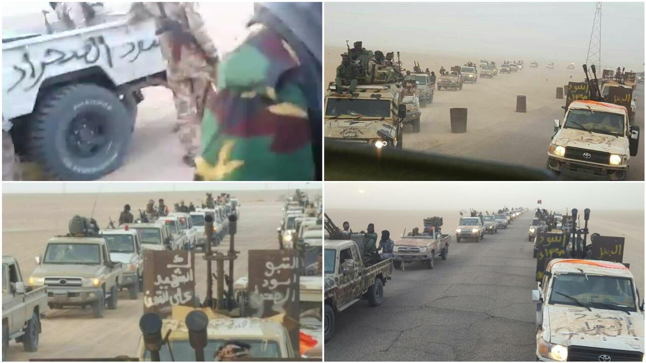 Les photos du bas et celle en haut à droite sont issues d'une publication Facebook datée du 17 mai 2017, d'une page parlant de l'ethnie Toubou présente en Libye.