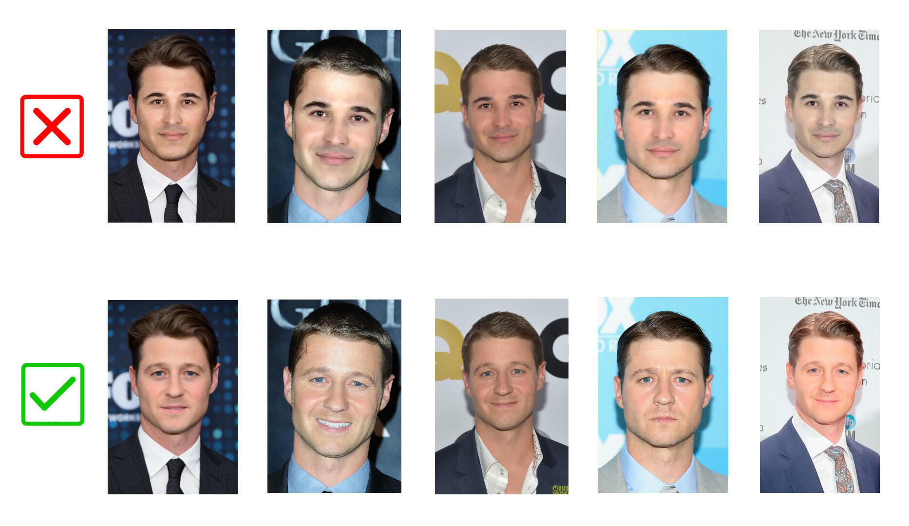"""Fake photos shared on the social media accounts of """"Rob Petrosian"""" (upper row), and original photos of American actor Ben McKenzie (lower row)."""