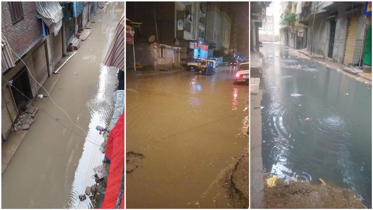 جميع شوارع أحياء الإسكندرية امتلأت بمياه المجاري طيلة فصل الشتاء. صور نشرت عبر فيس بوك.