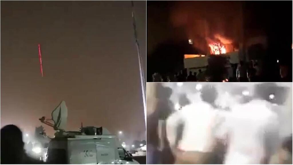 Captures d'écrans de vidéos montrant les manifestants s'en prendre au Parlement à Erbil mais aussi à des bureaux de partis opposés au président démissionnaire Barzani.