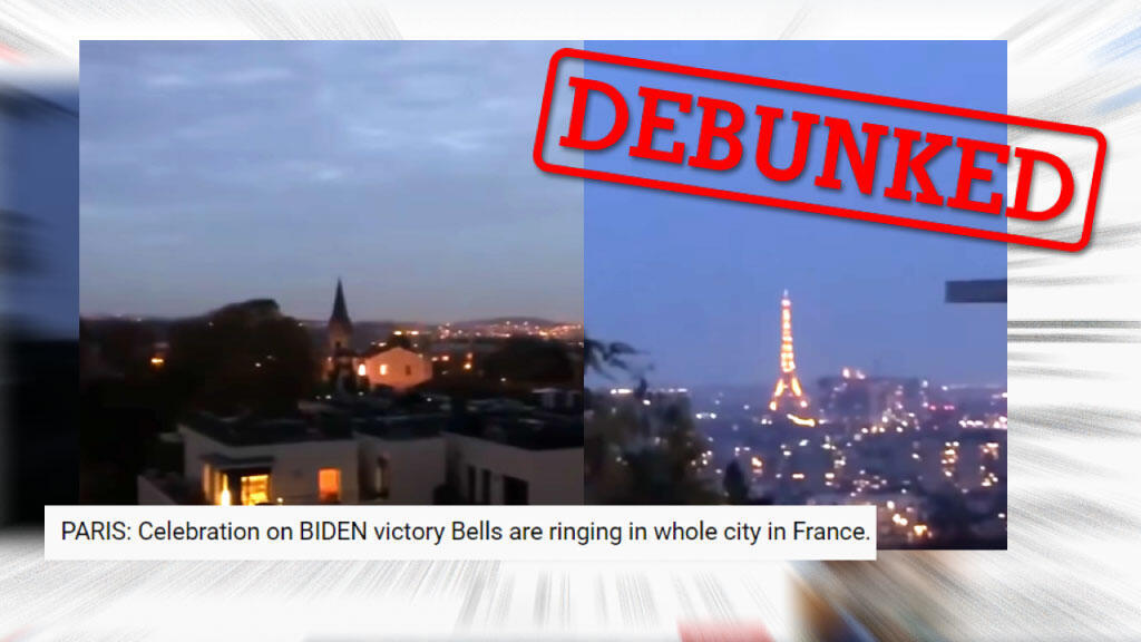 Did bells ring in the Paris region to celebrate Joe Biden's victory as a video claims?