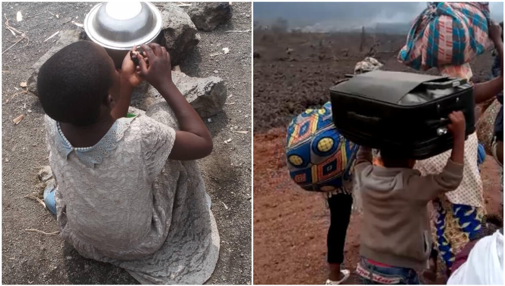 Left: an unaccompanied child after the May 22 eruption of Nyiragongo Volcano in the Democratic Republic of Congo. Right: a family fleeing Goma along Rutshuru Road on May 27, 2021.