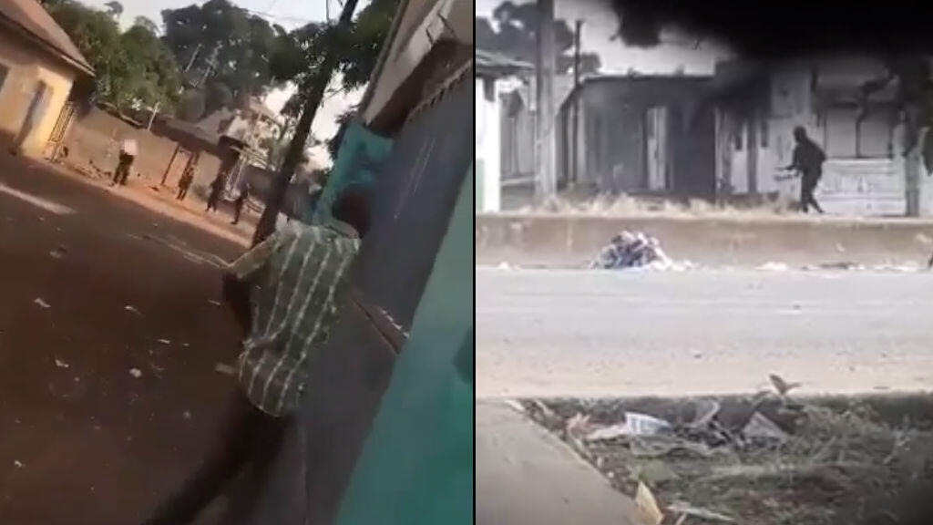 Captures d'écran de vidéos circulant sur les réseaux sociaux montrant des agents de maintien de l'ordre en train de tirer sur des personnes.