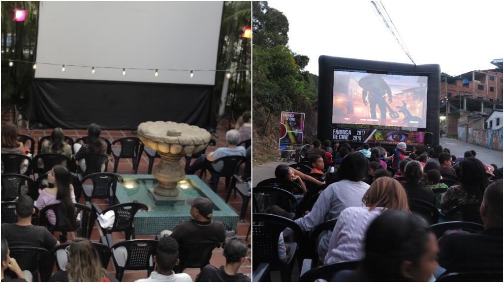 A free outdoor movie screening in Caracas, Venezuela, organised by Gran Cine.