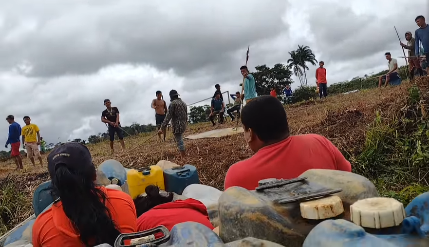 This screengrab is from a video posted on social media by miners in Palimiú.