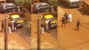Plusieurs policiers ont frappé un homme se rendant dans une mosquée de la commune de Ratoma le 14 janvier 2020. Capture d'écran de la vidéo.
