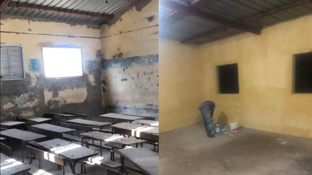 Junior Diakhaté uses social media to raise the funds to renovate dilapidated classrooms in local schools. (Photos: Twitter @Niintche)