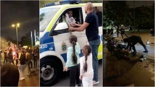 Left: Rioters in Malmo, Sweden on Aug. 28. Center: Local Mustafa Alshabi presents flowers to police officers the day after the riots. Right: In the Rosengard neighbourhood, residents clean up the streets after the riots dispersed.