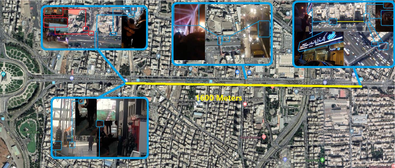 ویدئوهای آماتور شلیک شاتگان و گاز اشکآور را در حدود ۱۶۰۰ متر از خیابان آزادی در ۱۲ ژانویه در این نقاط به ثبت رسانده است.
