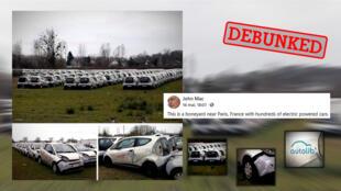 Is this a 'boneyard' of electric vehicles near Paris?