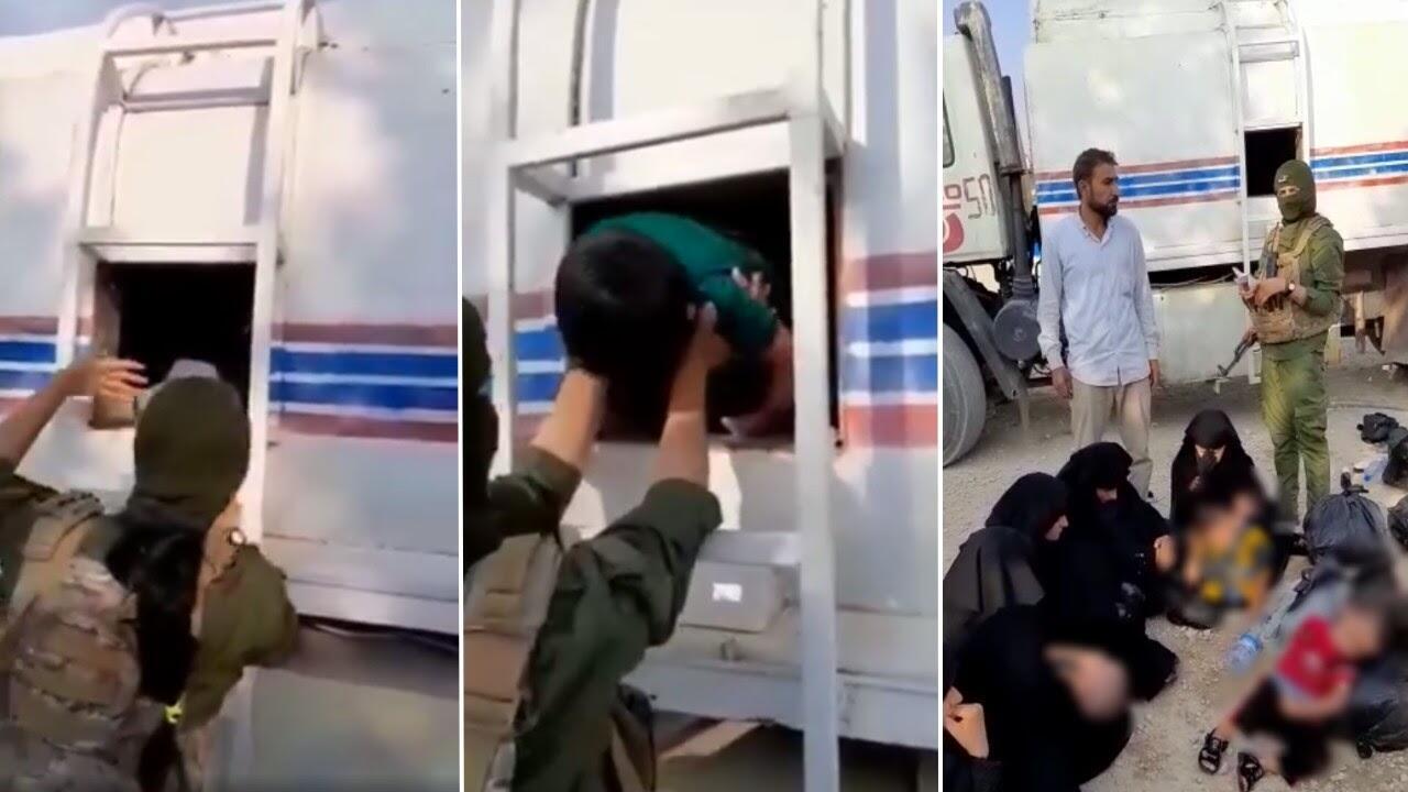 Des combattantes kurdes sortent un par un six enfants de la cabine d'un camion-citerne, en compagnie de cinq femmes affiliées à l'Etat Islamique qui s'évadaient du camp Al Hol. Captures d'écran.