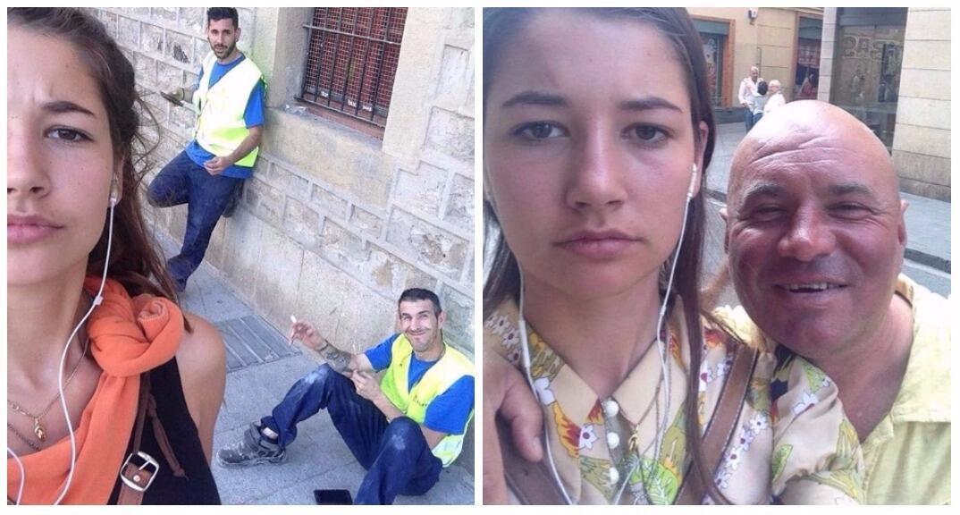 Deux 'selfies' pris avec les harceleurs de rue. Crédit : Instagram, Dearcatcallers