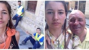 Two of the selfies Jansma took with people who catcalled her. From Instagram: Dearcatcallers