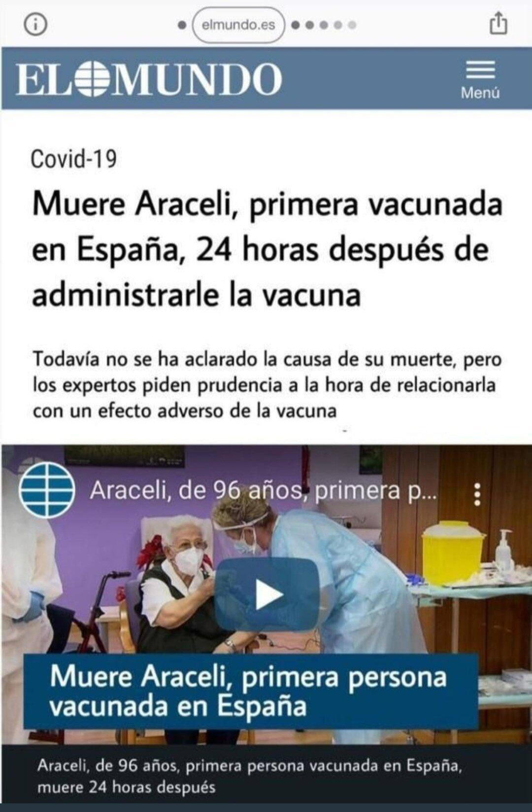 "This screengrab circulated on WhatsApp and Twitter in Spain. The title says, in Spanish, ""Araceli, the first person vaccinated in Spain, dies 24 hours after getting the vaccine."""
