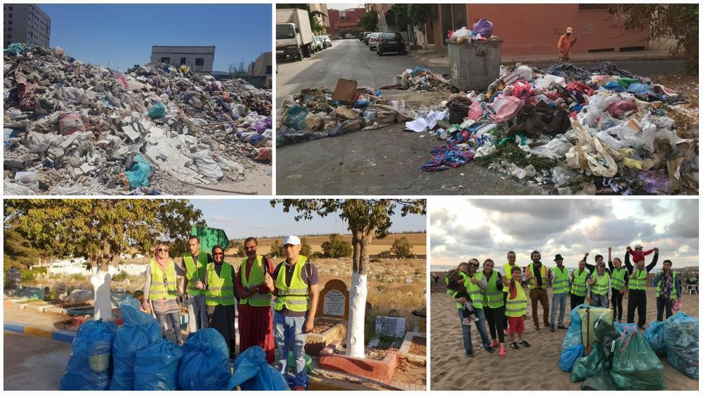 """People living in Casablanca have been organising online in an attempt to fight against problems in their city, like dirty streets. (Photos: """"Save Casablanca"""" and """"Action Casa"""".)"""