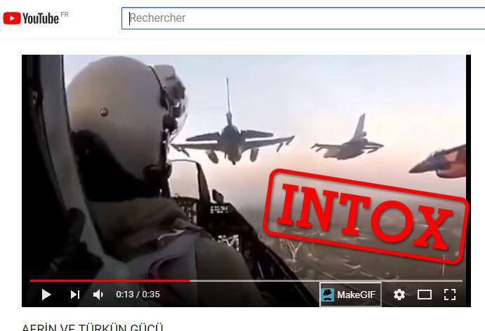 Capture d'écran d'une vidéo postée sur une chaîne YouTube turque et prétendant montrer l'aviation turque à l'attaque sur Afrin.