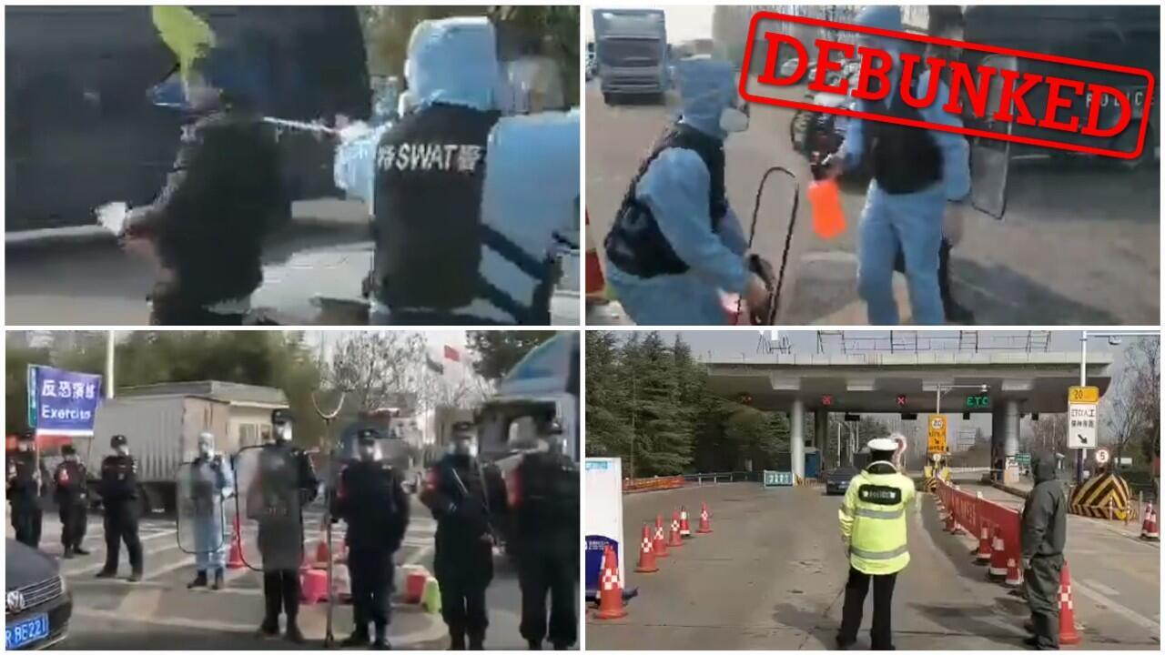 This video shows Chinese police officers using a fishing net to stop a man apparently running a fever.