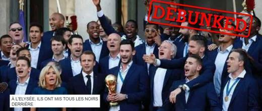 On Facebook, some users claimed that 'all the black players' were put in the back row during the World Cup champions' visit to the presidential palace on July 16, 2018.