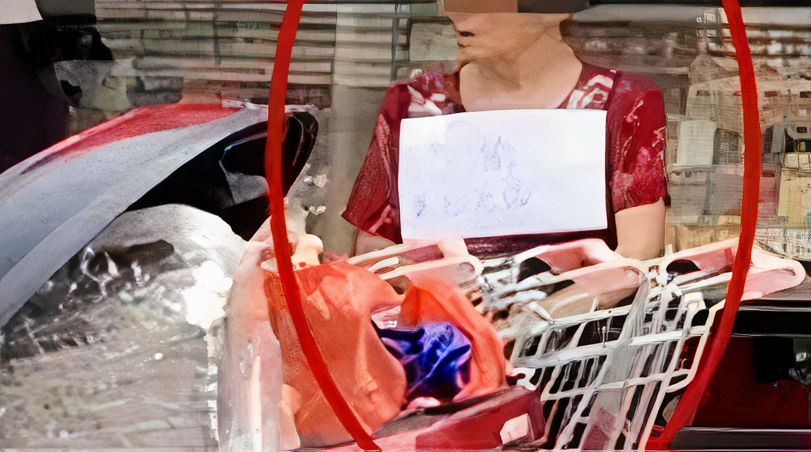 An elderly woman seated outside a supermarket where she was publicly shamed and forced to wear a sign declaring that she is a thief.