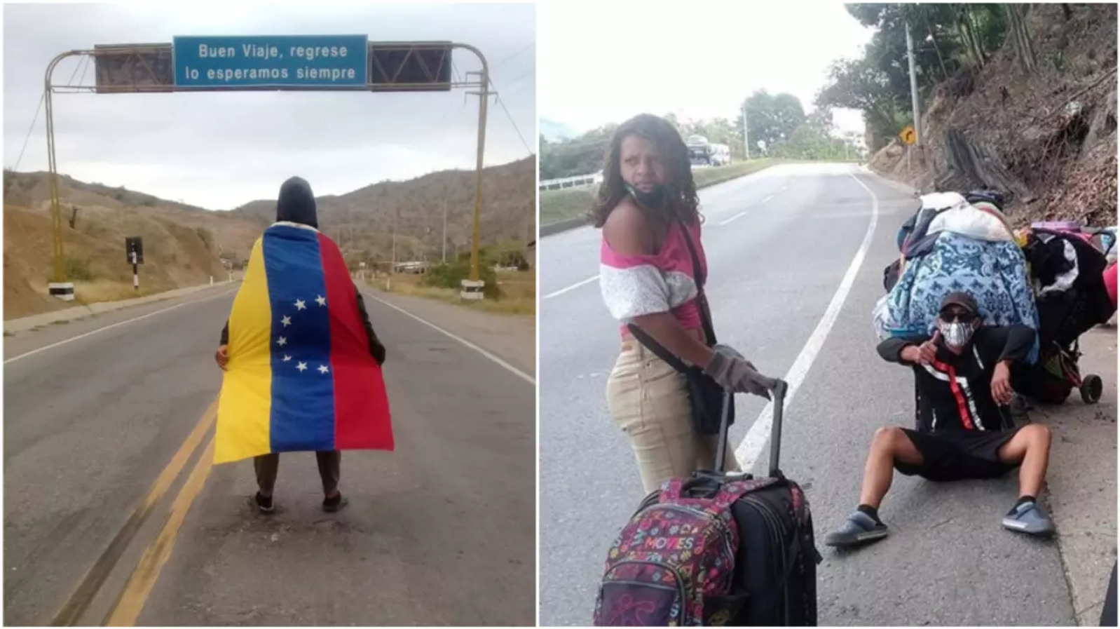 The image on the left shows Neo Mendoza on the road in Peru. The image on the right shows Eduardo Azuaje's group on the road in Colombia.