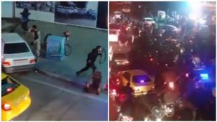 اعمال خشونت علیه معترضان ایرانی که در اعتراض به شلیک موشک به هواپیمای اکراینی به خیابان آزادی آمده بودند.