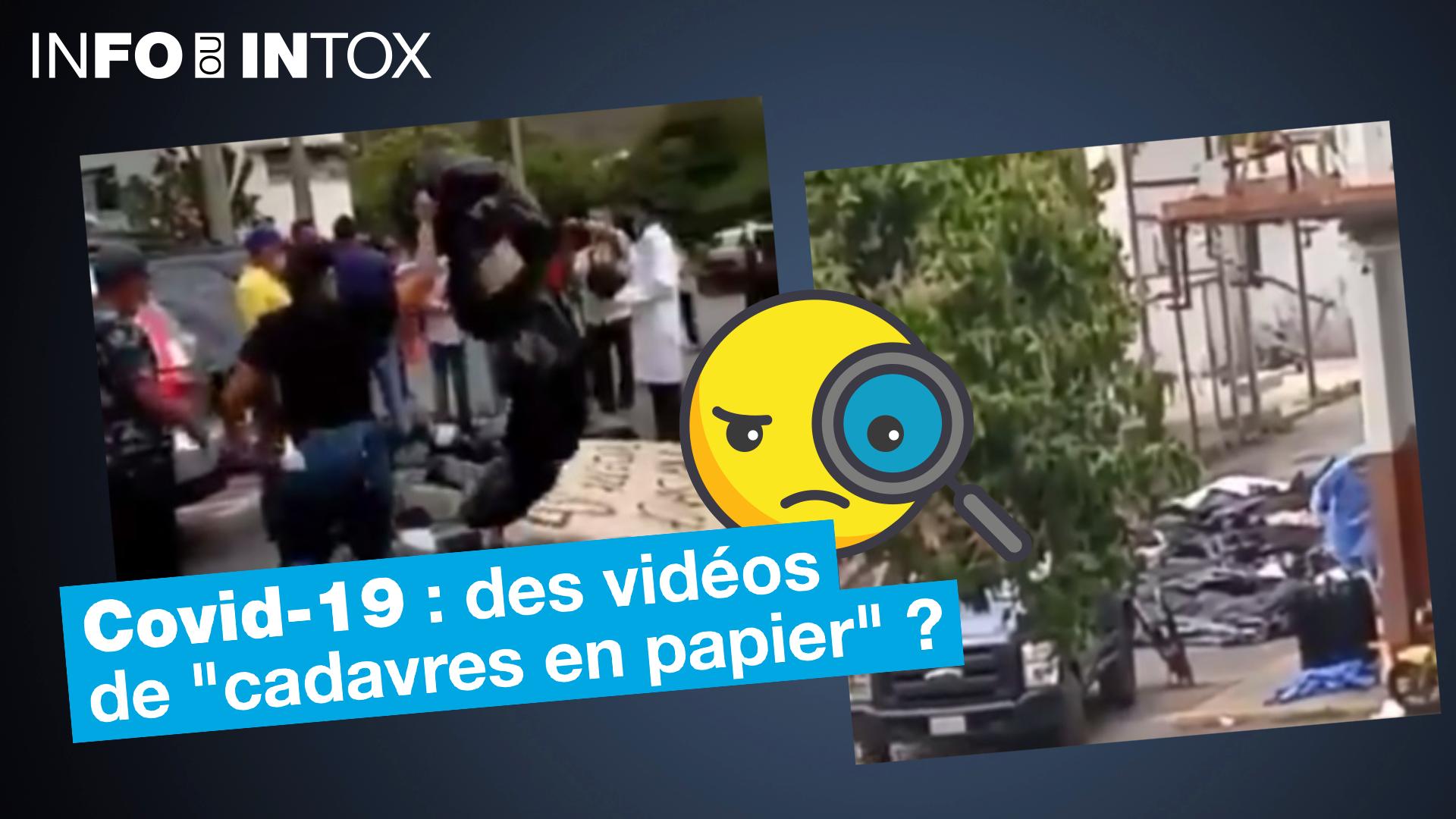 """Une vidéo montrerait de """"faux cadavres en papier"""" er personnes décédées du Covid-19. On a retracé l'origine de cette vidéo."""