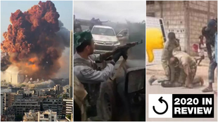 Left to right: The explosion that rocked Beirut in August; a Syrian mercenary exchanging fire with Armenian soldiers in Nagorno-Karabakh; Mauritanian police officers arrest an individual in the same manner used on George Floyd in the US.
