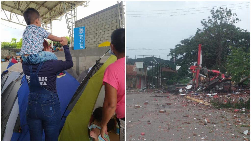 Des déplacés à Arauquita, en Colombie, en mai 2021; des infrastructures attaquées à La Victoria, au Venezuela.