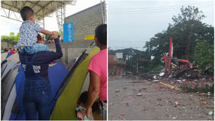 The image on the left shows displaced Venezuelan families in Arauquita, Colombia in May 2021. The image on the right shows one of the buildings that was destroyed in La Victoria, Venezuela.