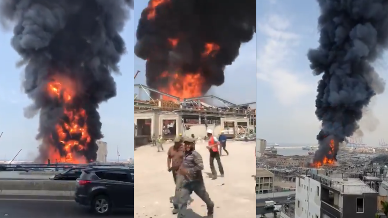 Workers at Beirut's port fled the giant fire that began September 10 in a warehouse containing motor oil and tires. (Screengrabs of a video posted on Twitter).