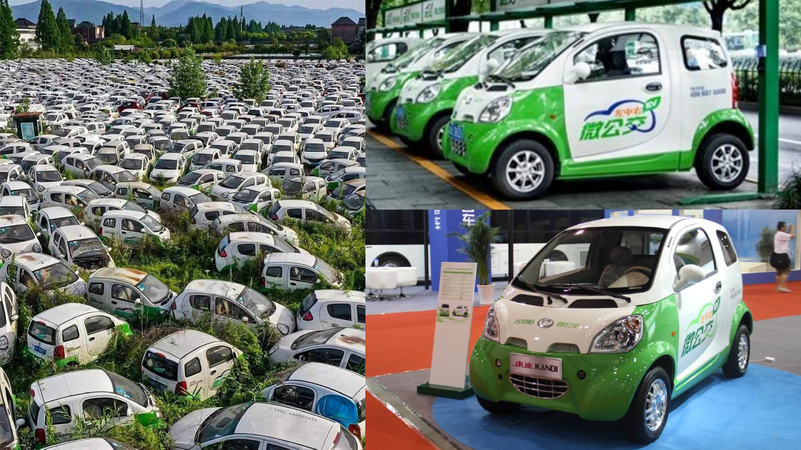 A gauche, l'image devenue virale ; en haut à droite, capture d'écran de l'image d'illustration de l'article du Global Times China ; en bas à droite, capture d'écran de l'image d'illustration de l'article de Green Car Reports.