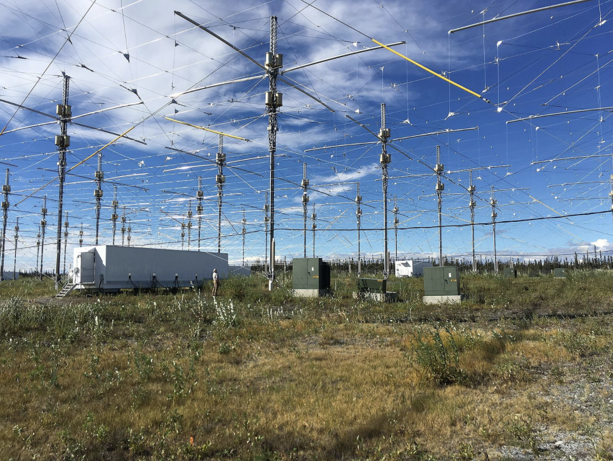 This image shows the field of HAARP antennas in Gakona, Alaska on August 27, 2016.
