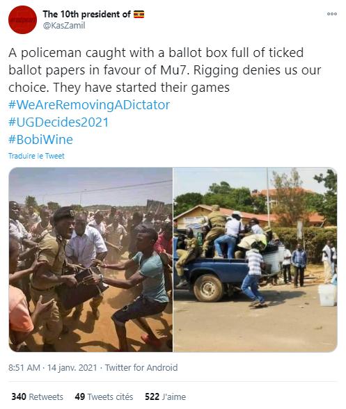 """""""Un policier pris avec une urne pleine de bulletins de votes cochés en faveur de Mu7 [surnom du président Yoweri Museveni, NDLR]. La triche nous prive de notre choix. Ils ont commencé leurs jeux"""", peut-on lire en légende des images publiées le 14 janvier 2021."""