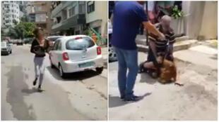لقطة من فيديو يصور اعتداء على مغايرتين للهوية الجنسية في منطقة جونيه شمال لبنان في 18 تموز/يوليو 2018.