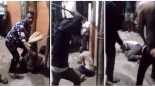 Screen captures from the amateur footage of the attack. Source: Twitter