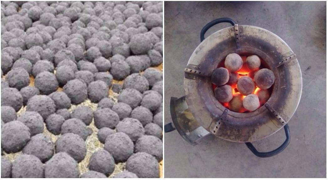 On the left, the carbonised briquettes made from excrement; on the right, the briquette being used in a fire. Photo: Nakuru Water and Sanitation Services Company