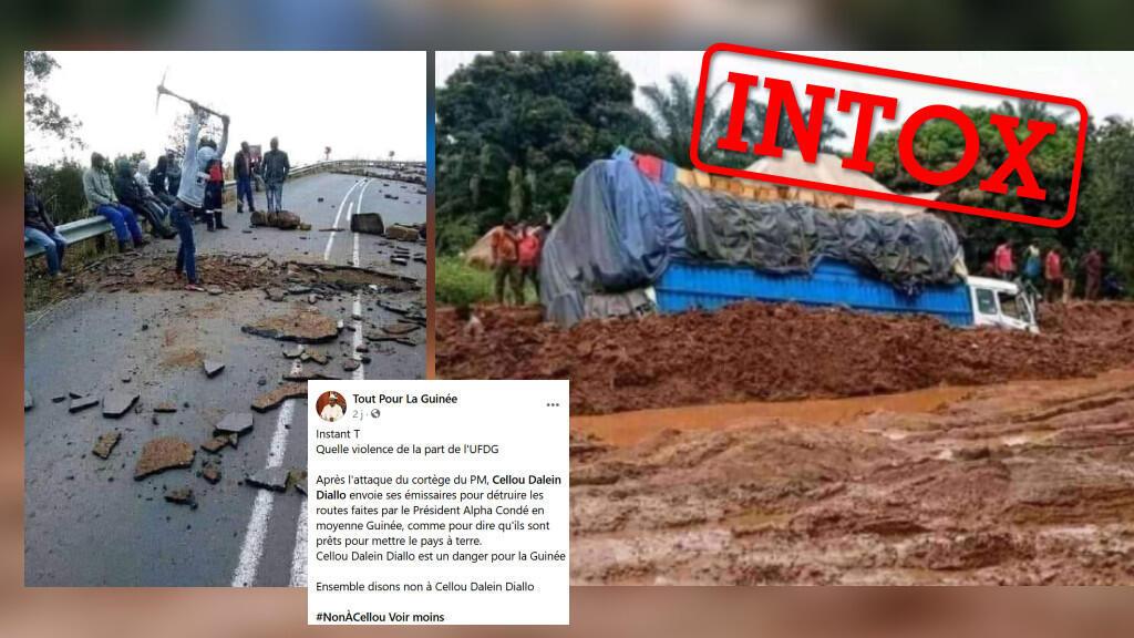 Ces images montrent-elles réellement des routes délabrées en Guinée? Attention à l'intox.