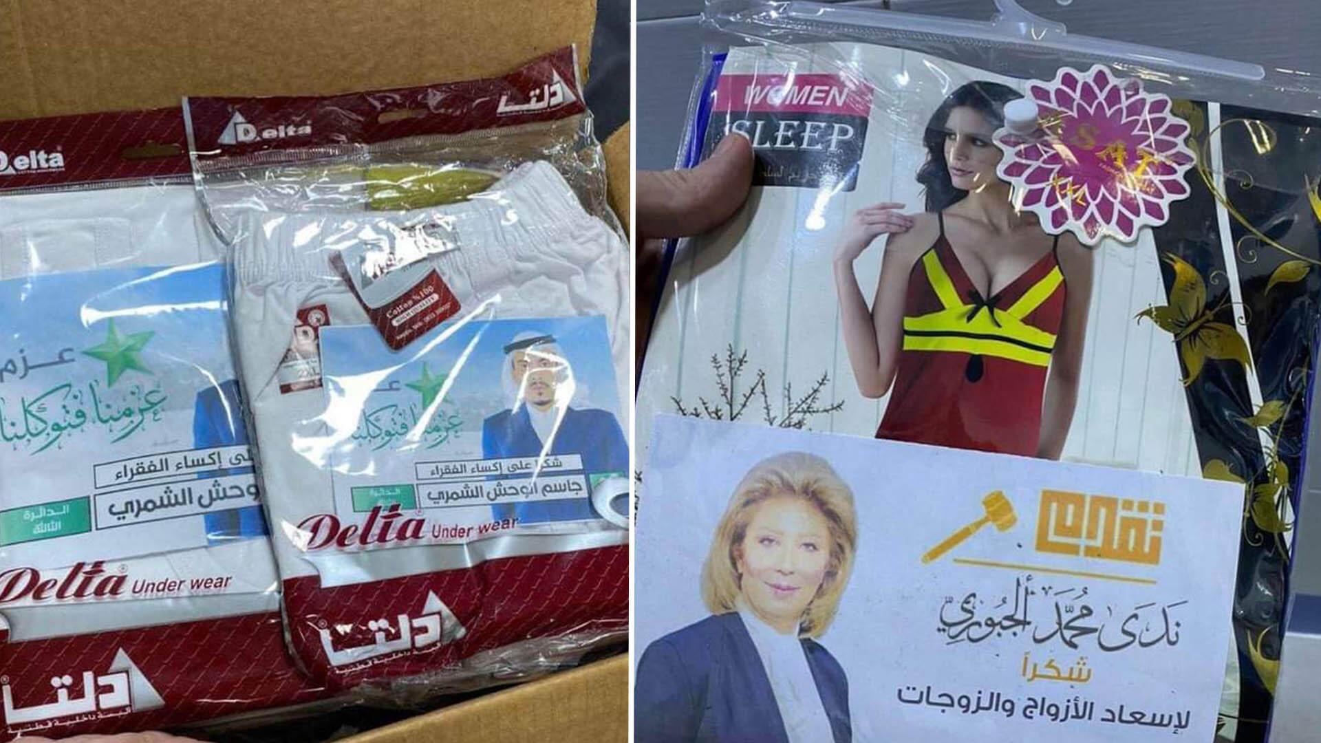 تاپ زنانه، لباس شب و شورت به همراه اعلامیههای نامزدهای مستقل یا کسانی که به احزاب عراقی وابسته هستند در طول مبارزات انتخاباتی به رای دهندگان اهدا شد.