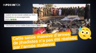 Des publications ont relayé une vidéo prétendant montrer une importante saisi d'armes et de véhicules par les Forces armées du Mali.
