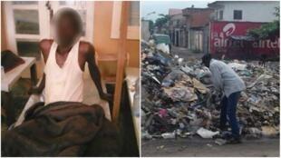 Un malade du choléra dans un centre de transit. Un homme au milieu des déchets à Kinshasa. Photos : Joelle Botamba
